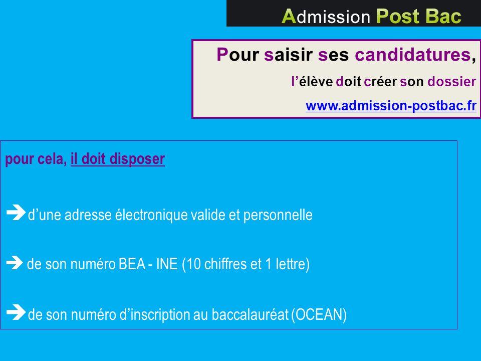 pour cela, il doit disposer dune adresse électronique valide et personnelle de son numéro BEA - INE (10 chiffres et 1 lettre) de son numéro dinscripti