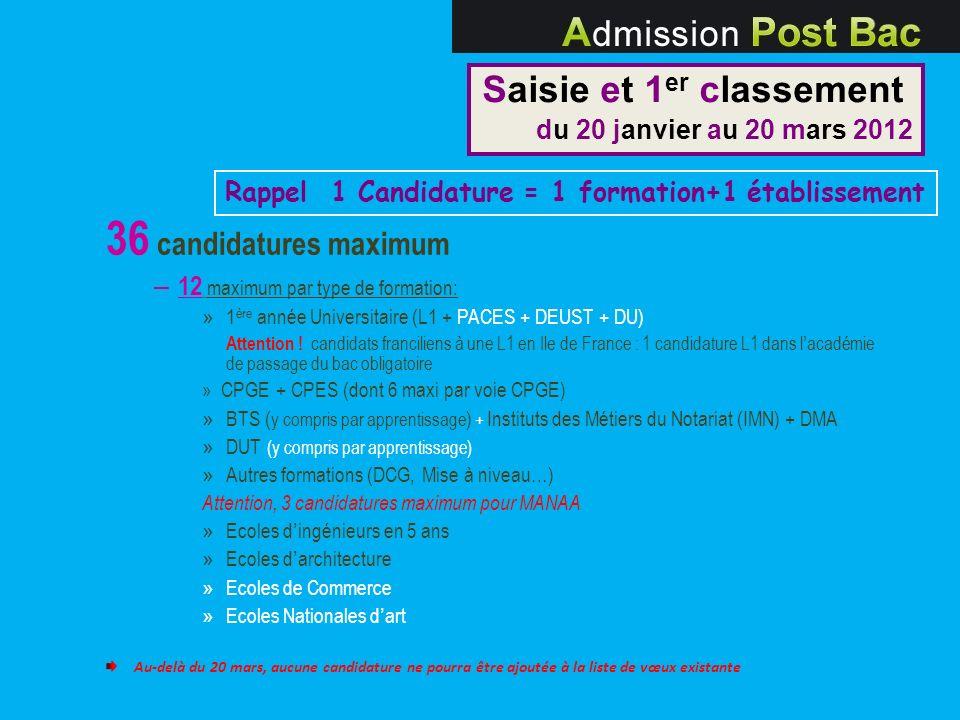 36 candidatures maximum – 12 maximum par type de formation: » 1 ère année Universitaire (L1 + PACES + DEUST + DU) Attention ! candidats franciliens à