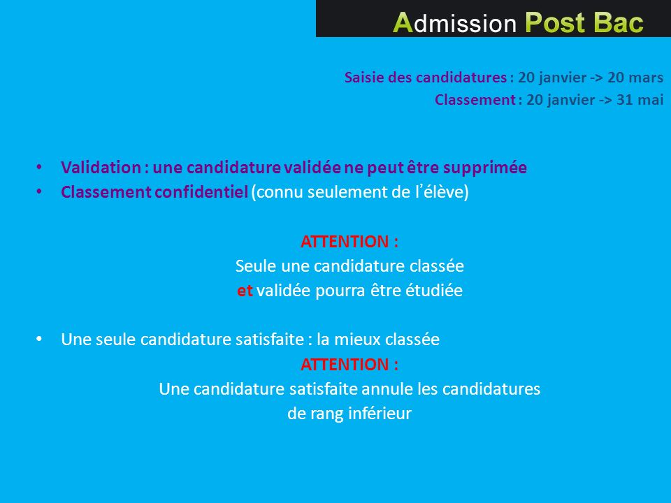 Saisie des candidatures : 20 janvier -> 20 mars Classement : 20 janvier -> 31 mai Validation : une candidature validée ne peut être supprimée Classeme