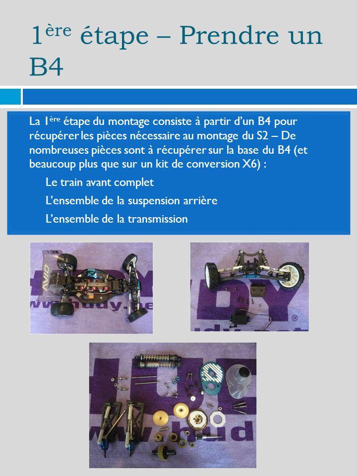 1 ère étape – Prendre un B4 La 1 ère étape du montage consiste à partir dun B4 pour récupérer les pièces nécessaire au montage du S2 – De nombreuses pièces sont à récupérer sur la base du B4 (et beaucoup plus que sur un kit de conversion X6) : Le train avant complet Lensemble de la suspension arrière Lensemble de la transmission
