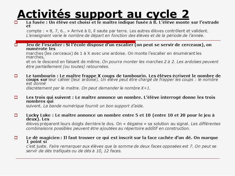 Activités support au cycle 2 La fusée : Un élève est choisi et le maître indique fusée à 8. Lélève monte sur lestrade et compte : « 8, 7, 6… » Arrivé