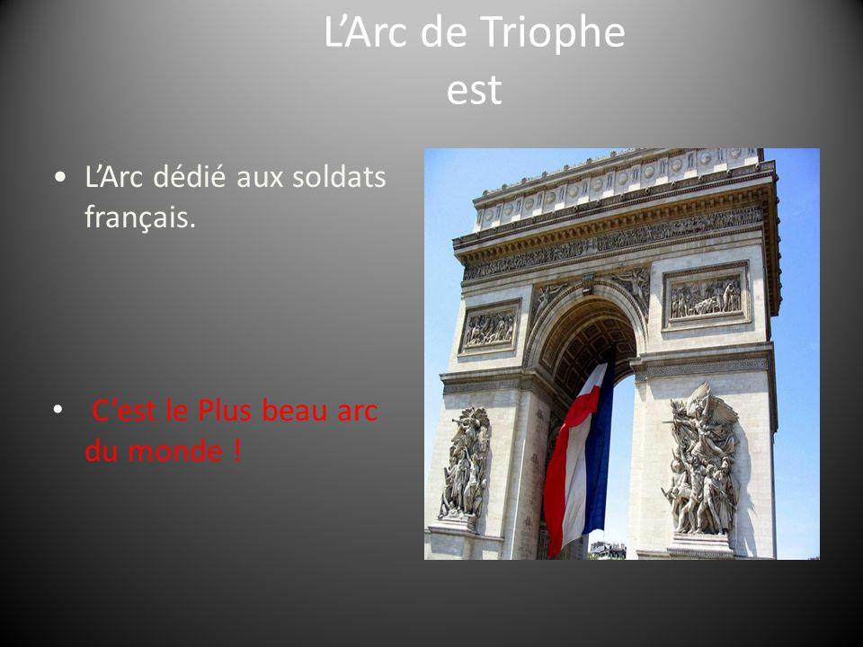 LArc de Triophe est LArc dédié aux soldats français. Cest le Plus beau arc du monde !