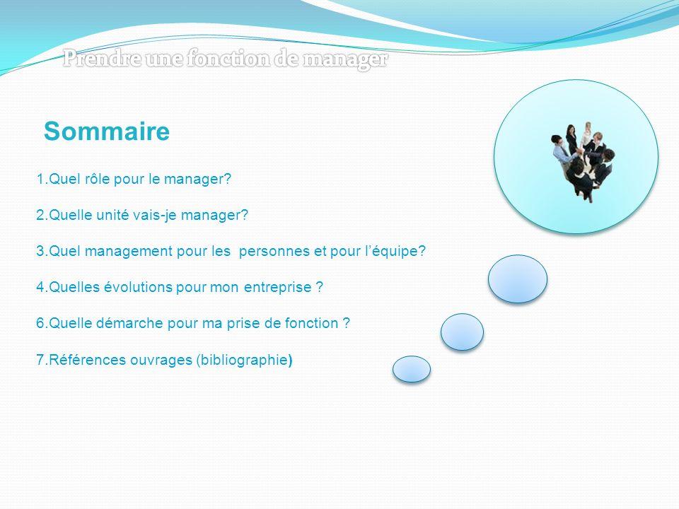 Sommaire 1.Quel rôle pour le manager? 2.Quelle unité vais-je manager? 3.Quel management pour les personnes et pour léquipe? 4.Quelles évolutions pour