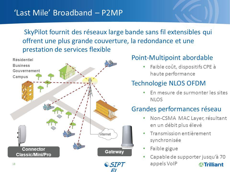 Last Mile Broadband – P2MP SkyPilot fournit des réseaux large bande sans fil extensibles qui offrent une plus grande couverture, la redondance et une