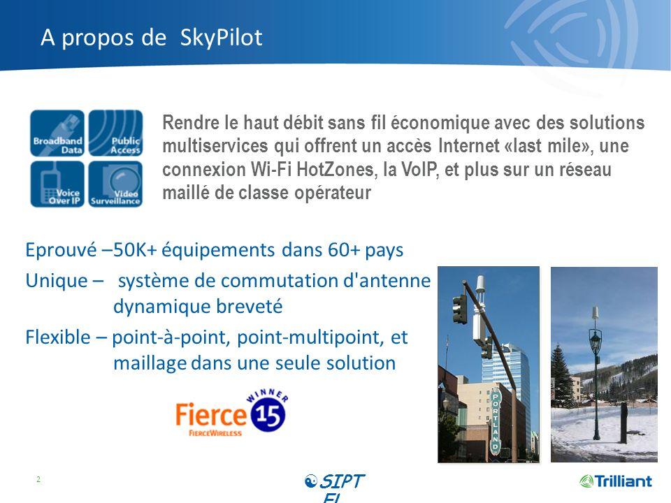 A propos de SkyPilot Eprouvé –50K+ équipements dans 60+ pays Unique – système de commutation d'antenne dynamique breveté Flexible – point-à-point, poi