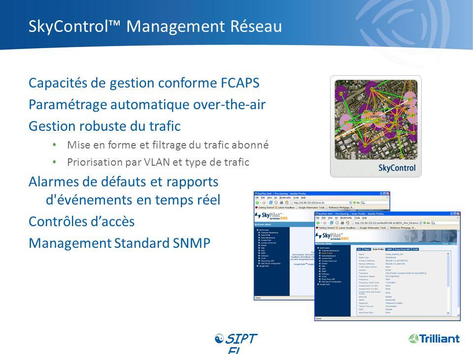 SkyControl Management Réseau Capacités de gestion conforme FCAPS Paramétrage automatique over-the-air Gestion robuste du trafic Mise en forme et filtr