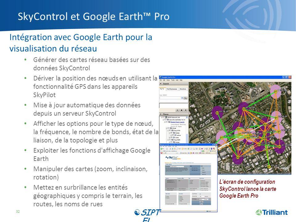 SkyControl et Google Earth Pro Intégration avec Google Earth pour la visualisation du réseau Générer des cartes réseau basées sur des données SkyContr