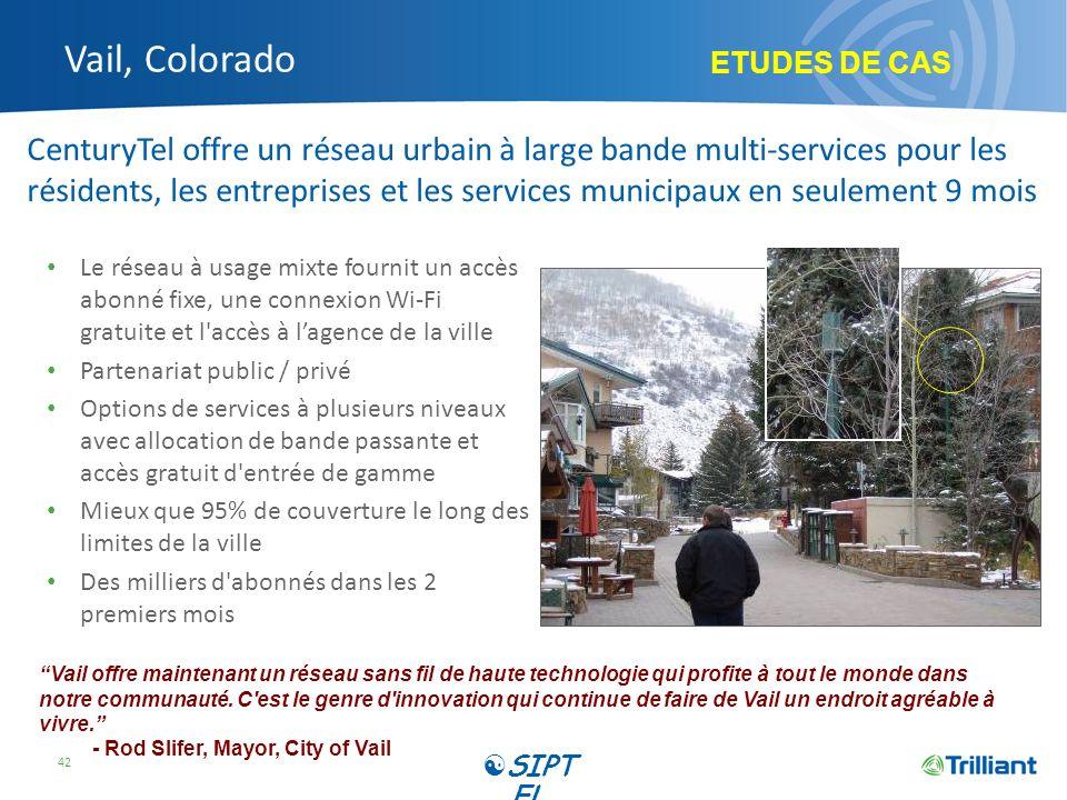 Vail, Colorado Le réseau à usage mixte fournit un accès abonné fixe, une connexion Wi-Fi gratuite et l'accès à lagence de la ville Partenariat public