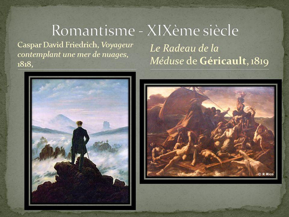 Caspar David Friedrich, Voyageur contemplant une mer de nuages, 1818, Le Radeau de la Méduse de Géricault, 1819