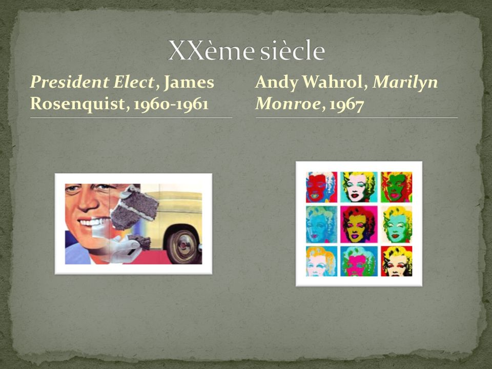 President Elect, James Rosenquist, 1960-1961 Andy Wahrol, Marilyn Monroe, 1967