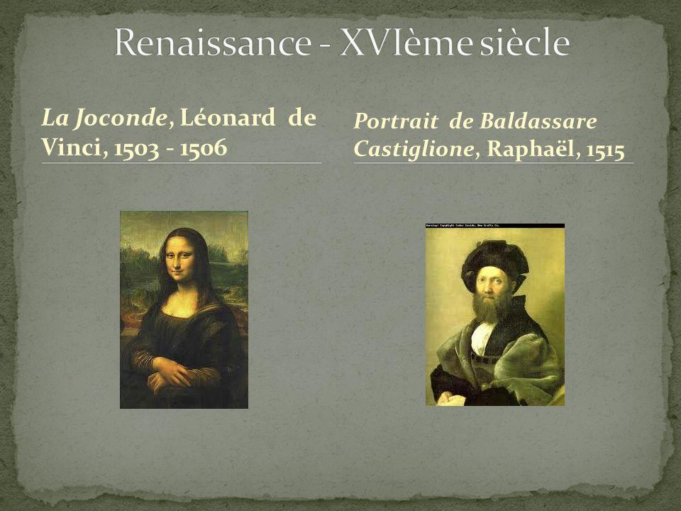 La Joconde, Léonard de Vinci, 1503 - 1506 Portrait de Baldassare Castiglione, Raphaël, 1515