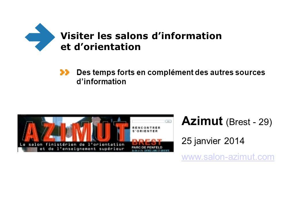 Azimut (Brest - 29) 25 janvier 2014 www.salon-azimut.com www.salon-azimut.com Visiter les salons dinformation et dorientation Des temps forts en complément des autres sources dinformation