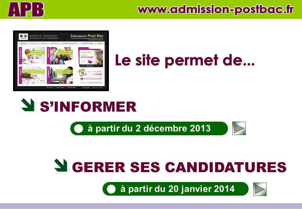 SINFORMER GERER SES CANDIDATURES à partir du 2 décembre 2013 à partir du 20 janvier 2014