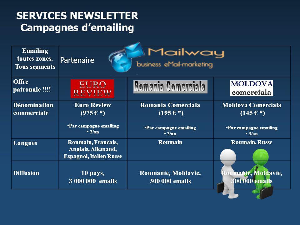 Emailing toutes zones. Tous segments Partenaire Offre patronale !!!! Dénomination commerciale Euro Review (975 *) Par campagne emailing 3/an Romania C