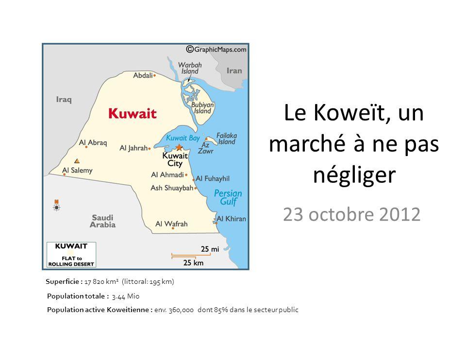 Le Koweït, un marché à ne pas négliger 23 octobre 2012 Superficie : 17 820 km 2 (littoral: 195 km) Population totale : 3.44 Mio Population active Kowe