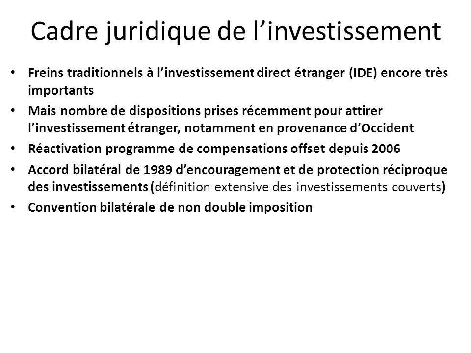 Freins traditionnels à linvestissement direct étranger (IDE) encore très importants Mais nombre de dispositions prises récemment pour attirer linvesti