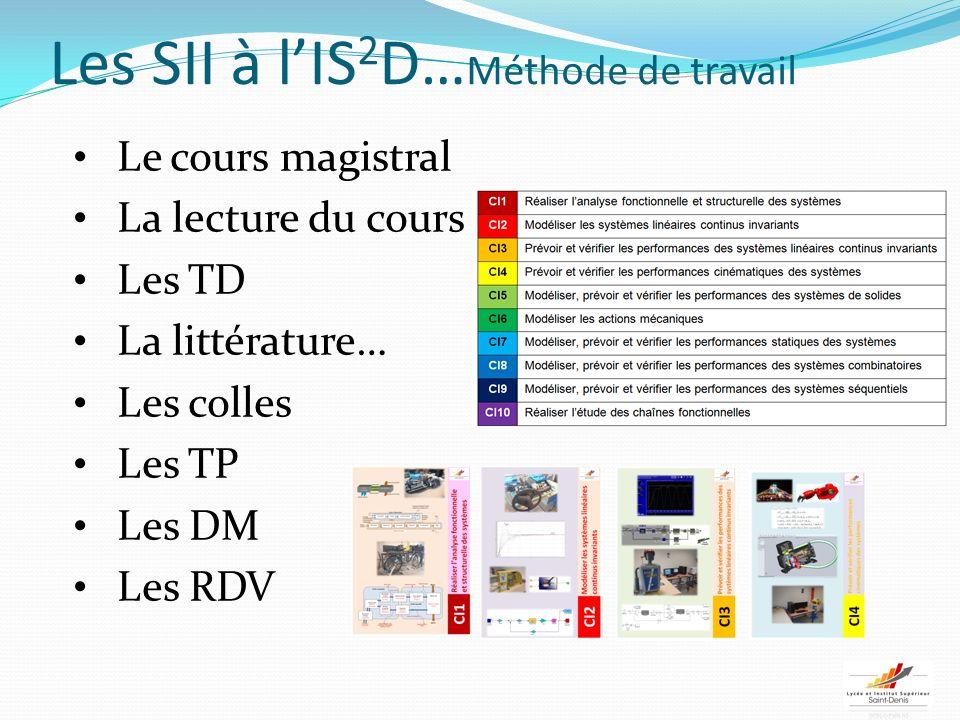 Les SII à lIS 2 D… Méthode de travail Le cours magistral La lecture du cours Les TD La littérature… Les colles Les TP Les DM Les RDV