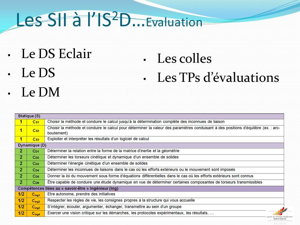 Les SII à lIS 2 D… Evaluation Le DS Eclair Le DS Le DM Les colles Les TPs dévaluations