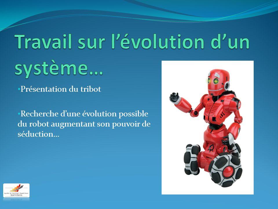 Présentation du tribot Recherche dune évolution possible du robot augmentant son pouvoir de séduction…
