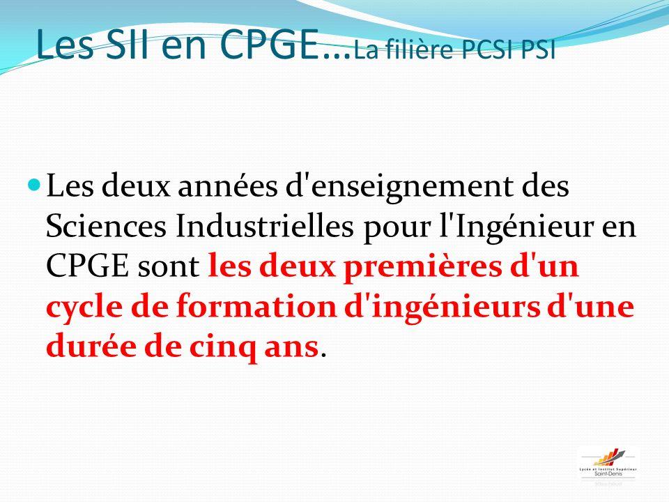 Les SII en CPGE… La filière PCSI PSI Les deux années d enseignement des Sciences Industrielles pour l Ingénieur en CPGE sont les deux premières d un cycle de formation d ingénieurs d une durée de cinq ans.