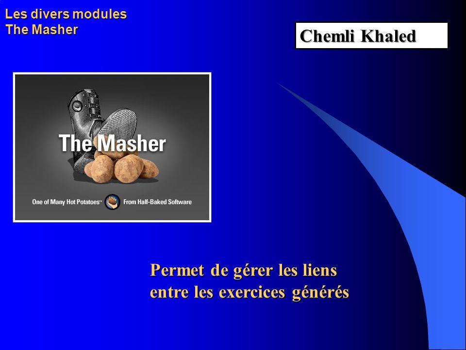 Les divers modules The Masher Permet de gérer les liens entre les exercices générés Chemli Khaled