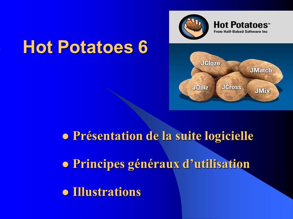 Hot Potatoes 6 Présentation de la suite logicielle Présentation de la suite logicielle Principes généraux dutilisation Principes généraux dutilisation