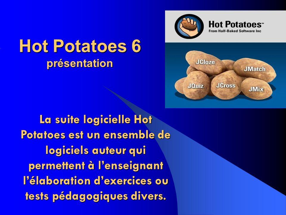 Hot Potatoes 6 présentation La suite logicielle Hot Potatoes est un ensemble de logiciels auteur qui permettent à lenseignant lélaboration dexercices