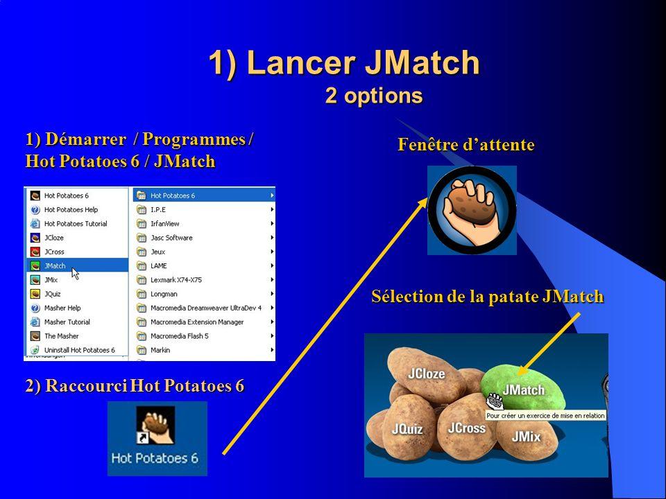 1) Lancer JMatch 2 options 1) Démarrer / Programmes / Hot Potatoes 6 / JMatch 2) Raccourci Hot Potatoes 6 Fenêtre dattente Sélection de la patate JMat