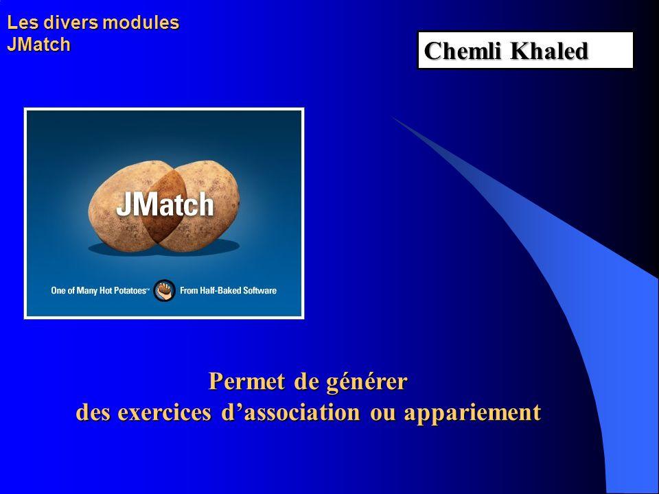 Les divers modules JMatch Permet de générer des exercices dassociation ou appariement Chemli Khaled