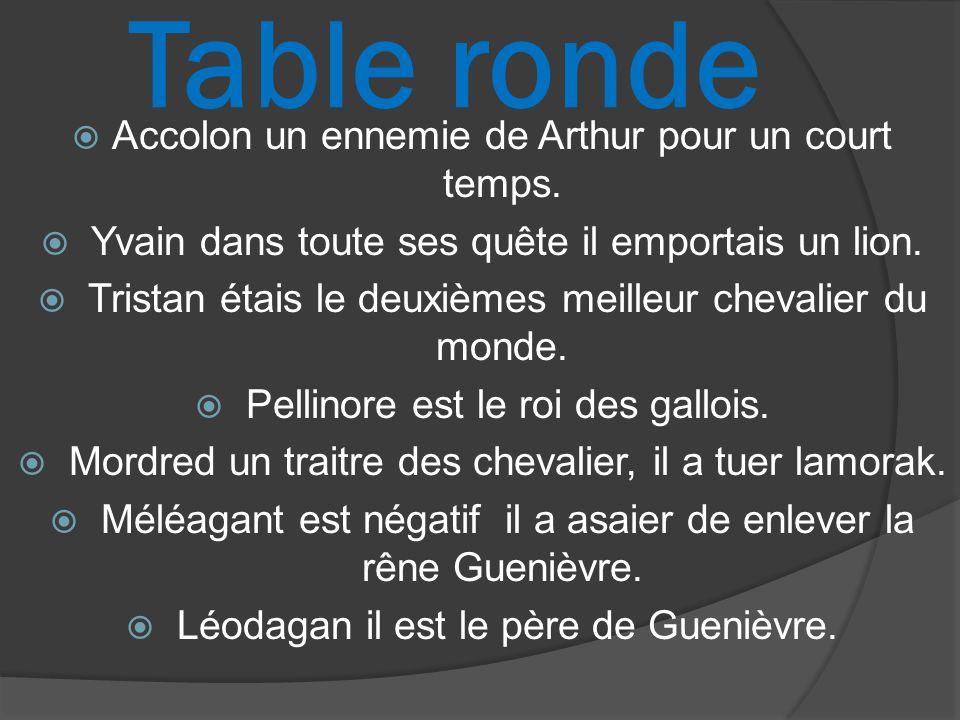 Table ronde Accolon un ennemie de Arthur pour un court temps. Yvain dans toute ses quête il emportais un lion. Tristan étais le deuxièmes meilleur che