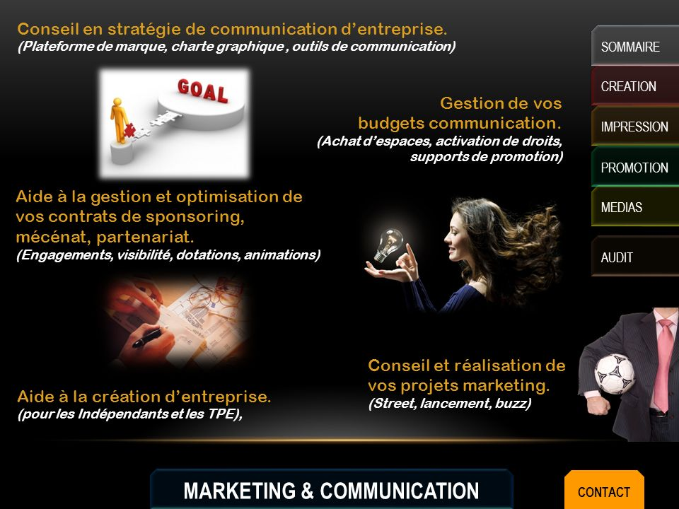 MARKETING & COMMUNICATION CREATION IMPRESSION MEDIAS AUDIT SOMMAIRE PROMOTION Aide à la création dentreprise.