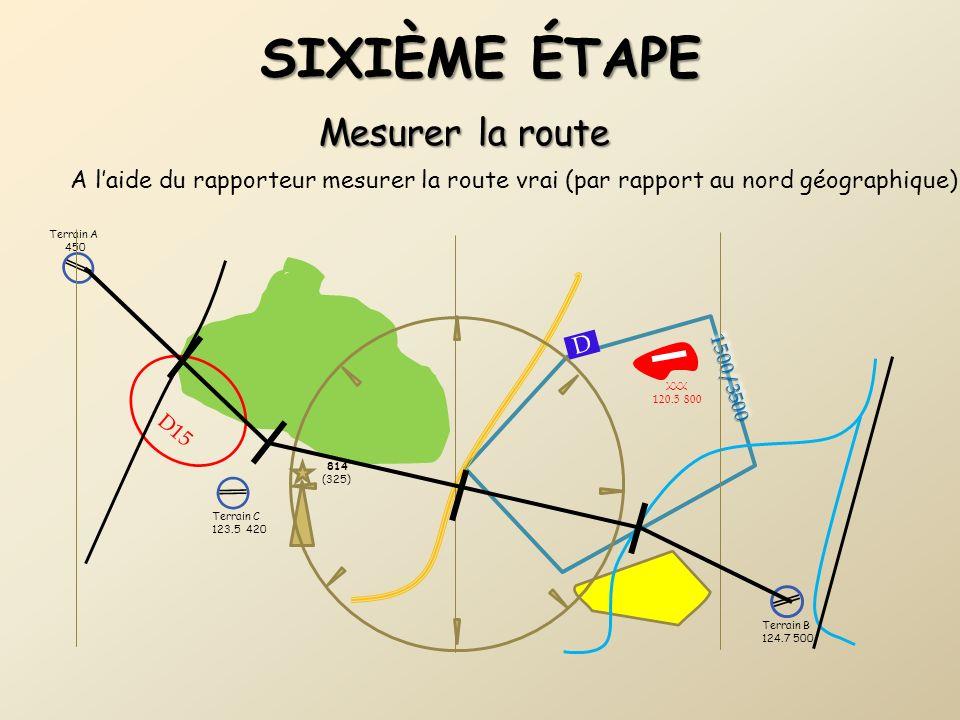 Terrain B 124.7 500 1500/35001500/3500 D15 Terrain C 123.5 420 814 (325) D Terrain A 450 SIXIÈME ÉTAPE Mesurer la route A laide du rapporteur mesurer