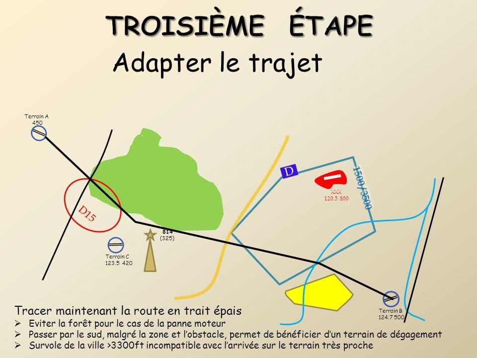 Adapter le trajet Tracer maintenant la route en trait épais Eviter la forêt pour le cas de la panne moteur Passer par le sud, malgré la zone et lobsta