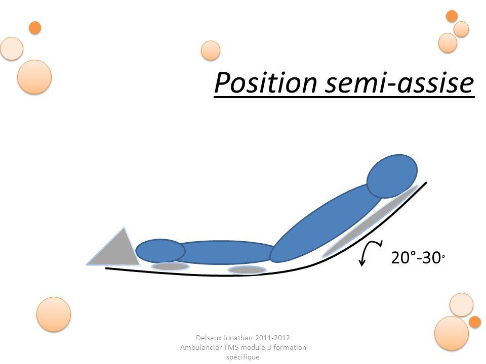 Delsaux Jonathan 2011-2012 Ambulancier TMS module 3 formation spécifique Fin… Position semi-assise 20°-30 °