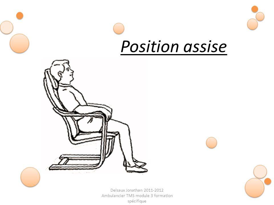 Delsaux Jonathan 2011-2012 Ambulancier TMS module 3 formation spécifique Fin… Position assise