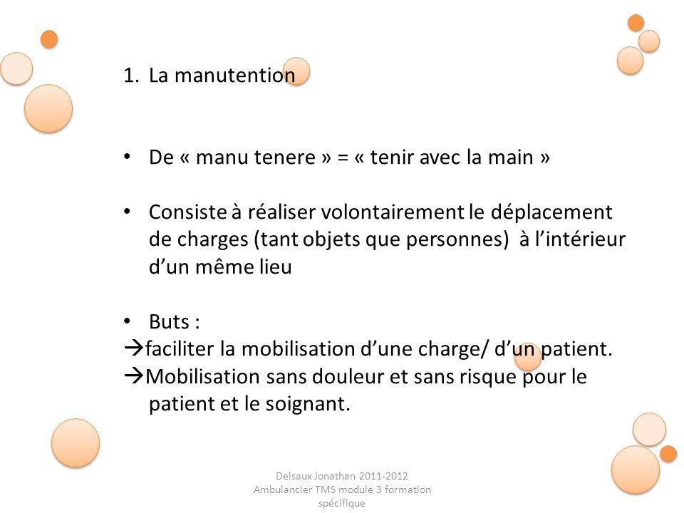 Delsaux Jonathan 2011-2012 Ambulancier TMS module 3 formation spécifique Fin… 1.La manutention De « manu tenere » = « tenir avec la main » Consiste à