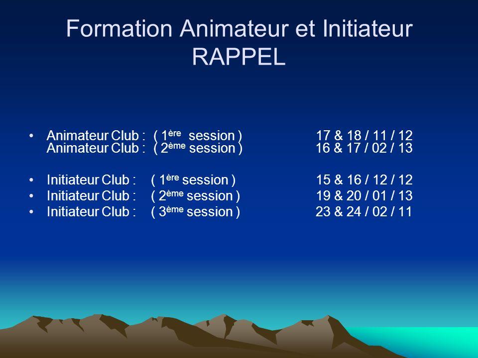 Formation Animateur et Initiateur RAPPEL Animateur Club : ( 1 ère session ) 17 & 18 / 11 / 12 Animateur Club : ( 2 ème session ) 16 & 17 / 02 / 13 Ini