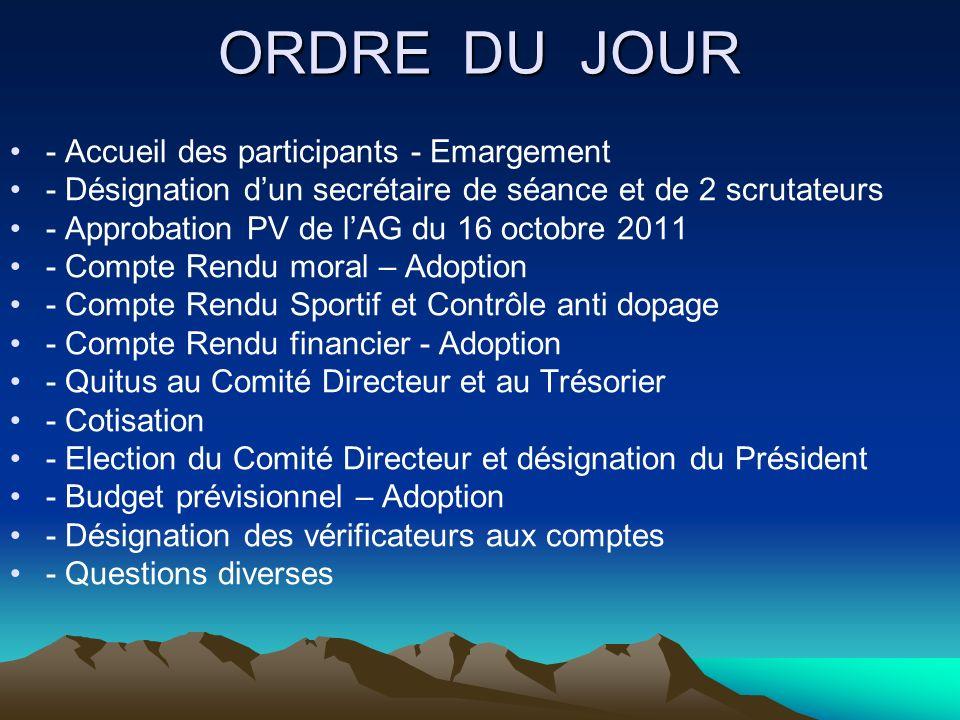ORDRE DU JOUR - Accueil des participants - Emargement - Désignation dun secrétaire de séance et de 2 scrutateurs - Approbation PV de lAG du 16 octobre