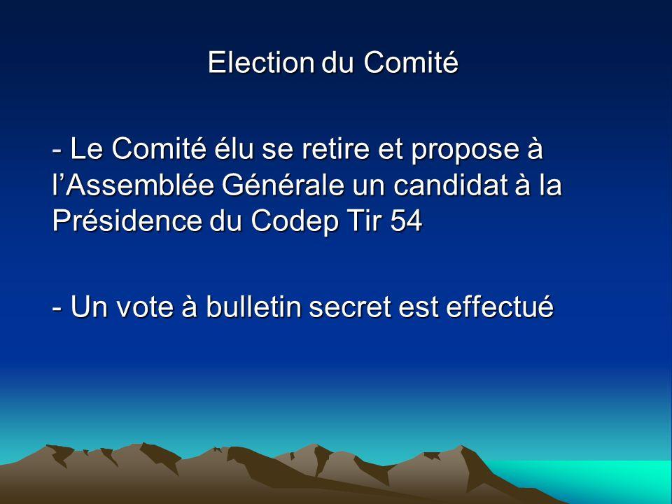 Election du Comité - Le Comité élu se retire et propose à lAssemblée Générale un candidat à la Présidence du Codep Tir 54 - Un vote à bulletin secret