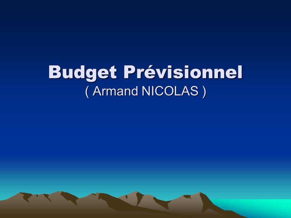 Budget Prévisionnel ( Armand NICOLAS )
