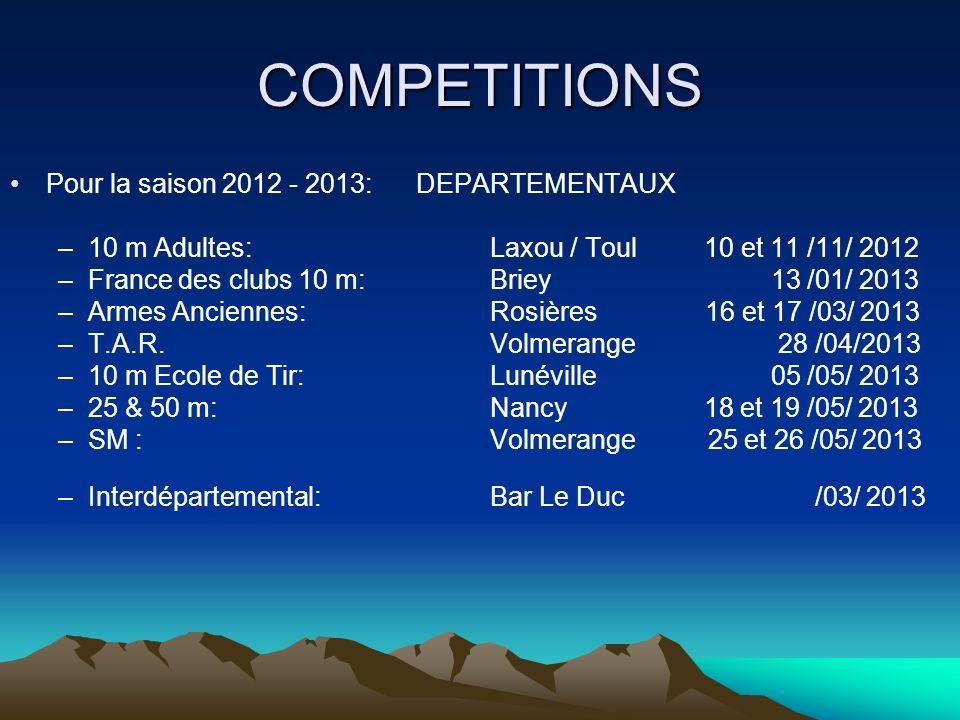 COMPETITIONS Pour la saison 2012 - 2013: DEPARTEMENTAUX –10 m Adultes:Laxou / Toul 10 et 11 /11/ 2012 –France des clubs 10 m:Briey 13 /01/ 2013 –Armes