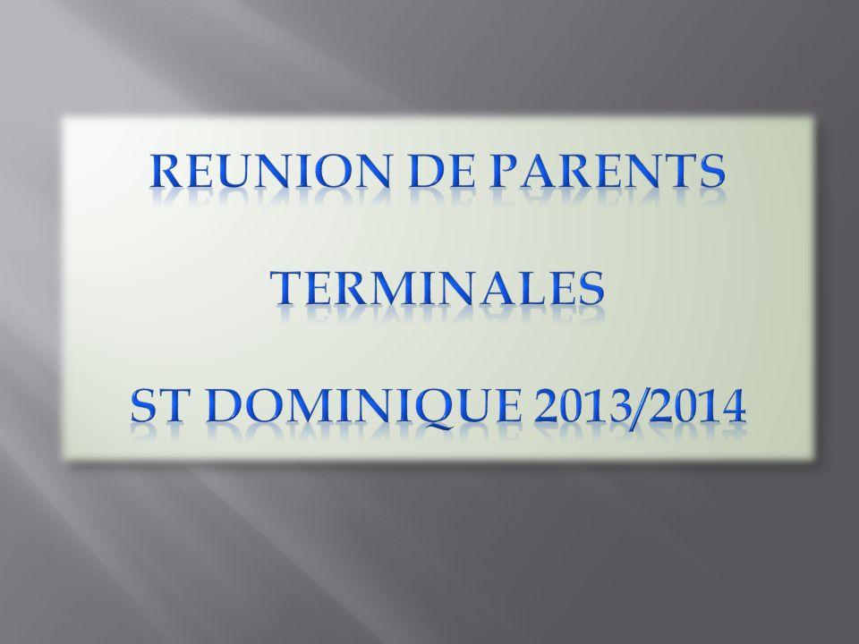 6 Terminales: 203 élèves (96 TS / 80 TES / 27 TL) 7 Professeurs principaux (3 en TS, 3 en TES, 1 en TL) TL TES1TES2 (37)TES3/TS3 (35)TS1TS2 2732TES2 A (24) TES2B / TES3 (24) TS3 (24) 36 M Odiau Mme CorintiMme AndroM Le PuilMme Tangy Mme de Vaumas M.