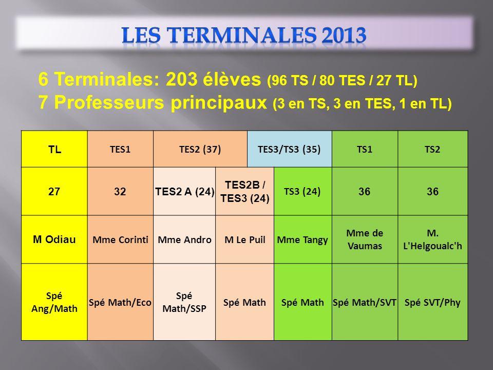 6 Terminales: 203 élèves (96 TS / 80 TES / 27 TL) 7 Professeurs principaux (3 en TS, 3 en TES, 1 en TL) TL TES1TES2 (37)TES3/TS3 (35)TS1TS2 2732TES2 A