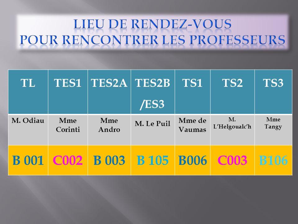 TLTES1TES2A TES2B /ES3 TS1TS2TS3 M. OdiauMme Corinti Mme Andro M. Le Puil Mme de Vaumas M. LHelgoualch Mme Tangy B 001C002B 003B 105B006C003B106