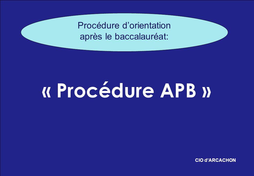 « Procédure APB » CIO dARCACHON Procédure dorientation après le baccalauréat: