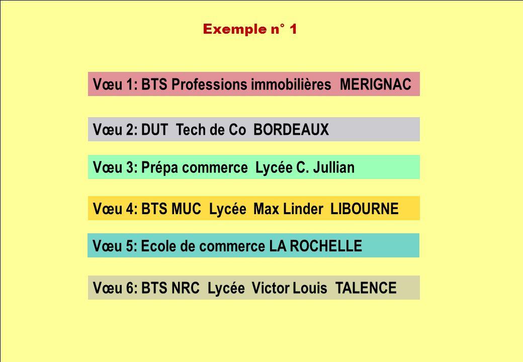 Vœu 1: BTS Professions immobilières MERIGNAC Vœu 2: DUT Tech de Co BORDEAUX Vœu 3: Prépa commerce Lycée C. Jullian Vœu 4: BTS MUC Lycée Max Linder LIB