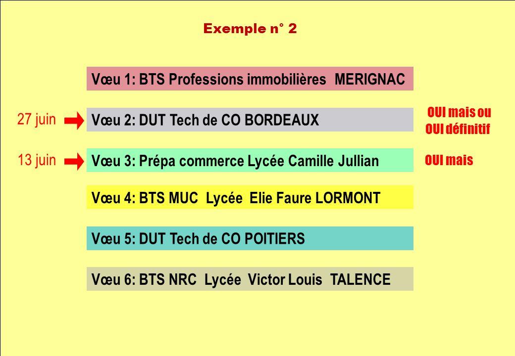 Vœu 1: BTS Professions immobilières MERIGNAC Vœu 2: DUT Tech de CO BORDEAUX Vœu 3: Prépa commerce Lycée Camille Jullian Vœu 4: BTS MUC Lycée Elie Faur