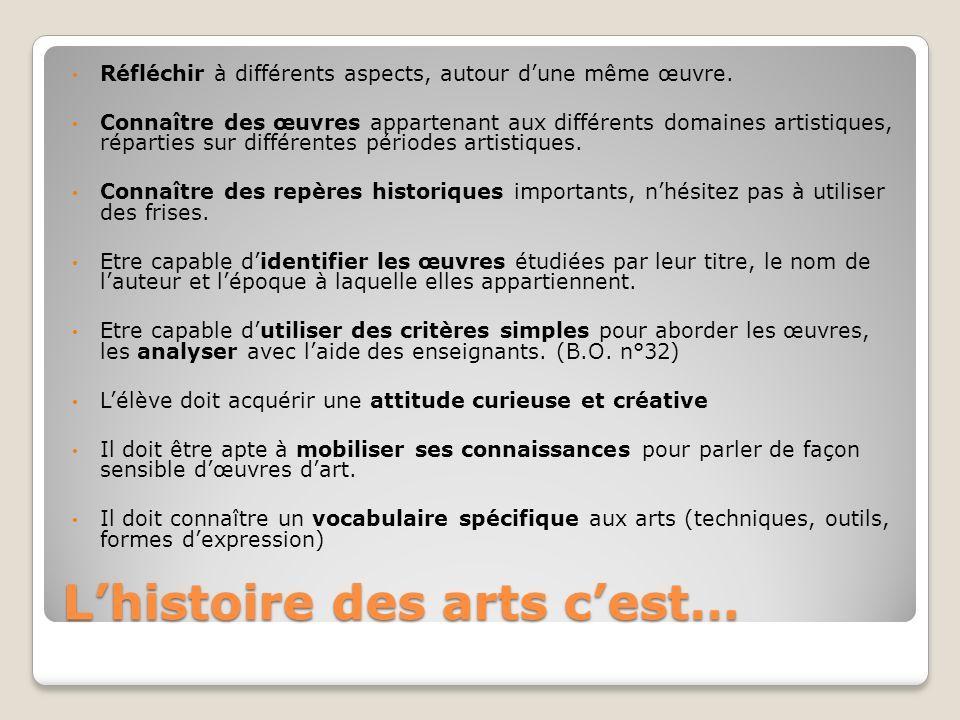 Lhistoire des arts cest… Réfléchir à différents aspects, autour dune même œuvre. Connaître des œuvres appartenant aux différents domaines artistiques,