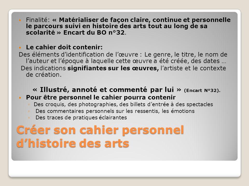 Créer son cahier personnel dhistoire des arts Finalité: « Matérialiser de façon claire, continue et personnelle le parcours suivi en histoire des arts tout au long de sa scolarité » Encart du BO n°32.