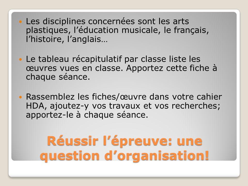 Réussir lépreuve: une question dorganisation! Les disciplines concernées sont les arts plastiques, léducation musicale, le français, lhistoire, langla